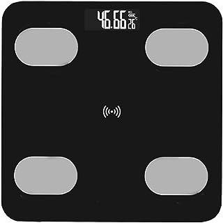 Wakauto Báscula de Peso Corporal Báscula de Grasa Digital Báscula Electrónica de Alta Precisión Báscula de Baño Multifuncional con Pantalla Led Iluminada para Fitness en Casa Negro