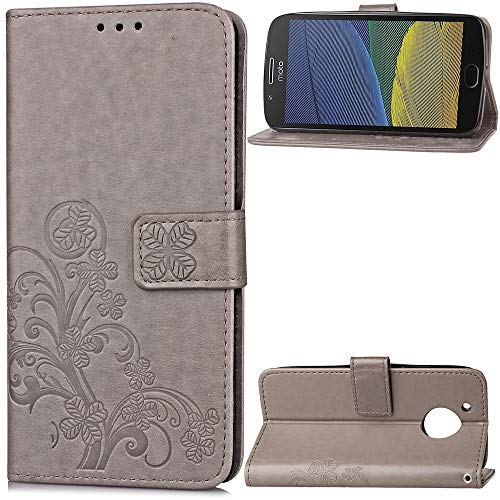 Tosim [Moto G5 Plus Hülle Klappbar Leder, Brieftasche Handyhülle Klapphülle mit Kartenhalter Stossfest Lederhülle für Motorola Moto G5Plus - TOSDA041219 Grau