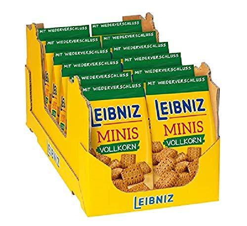 LEIBNIZ MINIS Vollkorn 12 x 125 g, Mini-Kekse in der Großpackung - Vorratsbox mit Vollkorn-Gebäck, wiederverschließbare Packungen, kernig im Geschmack