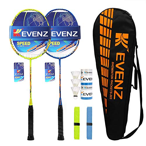 KEVENZ Badminton Racket Set, 2 Carbon Fiber Badminton Racquet, 3 Goose Feather Badminton Birdie, 2 Racket Grip and 1 Carring Bag (Yellow & Blue)