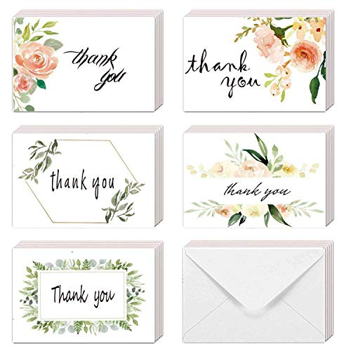 thank you notes EHME Floral Thank You Cards for Wedding, Bridal Shower, Baby Shower Thank You Notes Card with Envelopes and Stickers, 40 Bulk Pack Greenery Flower Greeting Cards 4 x 6