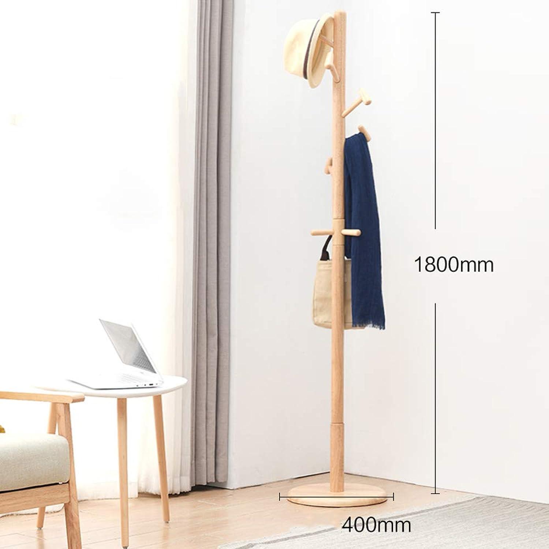 Chunlan Coat rack Rubber Wood Coat Rack Landing Hanger (color   Wood color)