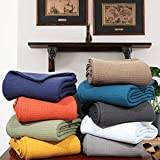 Urban Style Decor All Season Ringspun Woven Cotton Blanket Cozy Breathable Thermal Cotton Throw Blanket Bed Spread Quilt for Bed & Couch/Sofa (Queen 90 x 90 Inches, Orange)