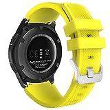 MoKo Cinturino in Silicone Compatible con Galaxy Watch 3 45mm/Galaxy Watch 46mm/Gear S3/Huawei Watch GT2 Pro/GT2e/GT 46mm/GT2 46mm/Ticwatch Pro 3, 22mm Braccialetto Morbido Sportivo, Giallo