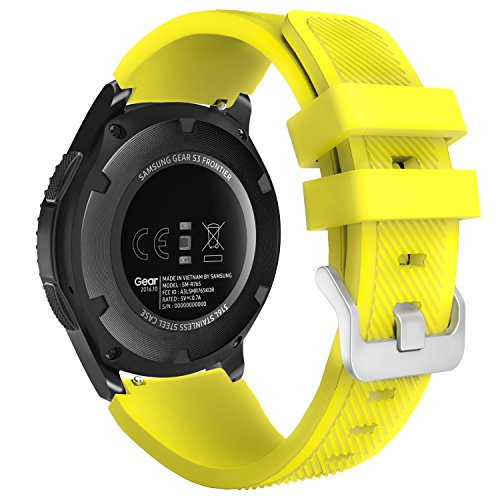 MoKo Correa para Galaxy Watch 3 45mm/Galaxy Watch 46mm/Gear S3 Frontier/Classic/Huawei Watch GT2 Pro/GT2e/GT 46mm/GT2 46mm/Ticwatch Pro 3-22mm Banda Deportiva de Silicona Suave Reemplazo, Amarillo