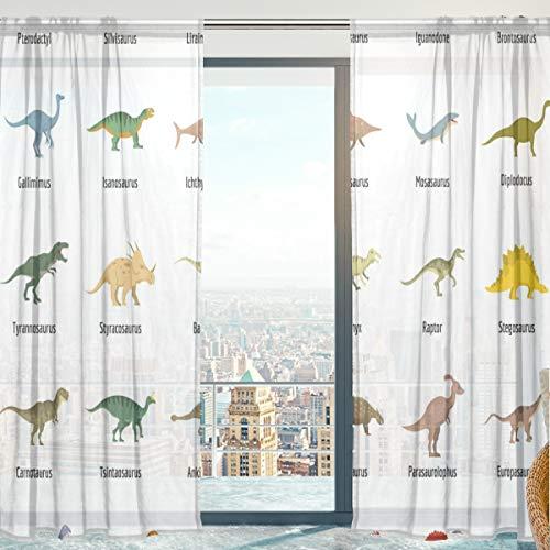 Mnsruu Cortinas de gasa transparente, tipo dinosaurio, suaves y transparentes para ventana de dormitorio, 140 x 213 cm, 2 paneles
