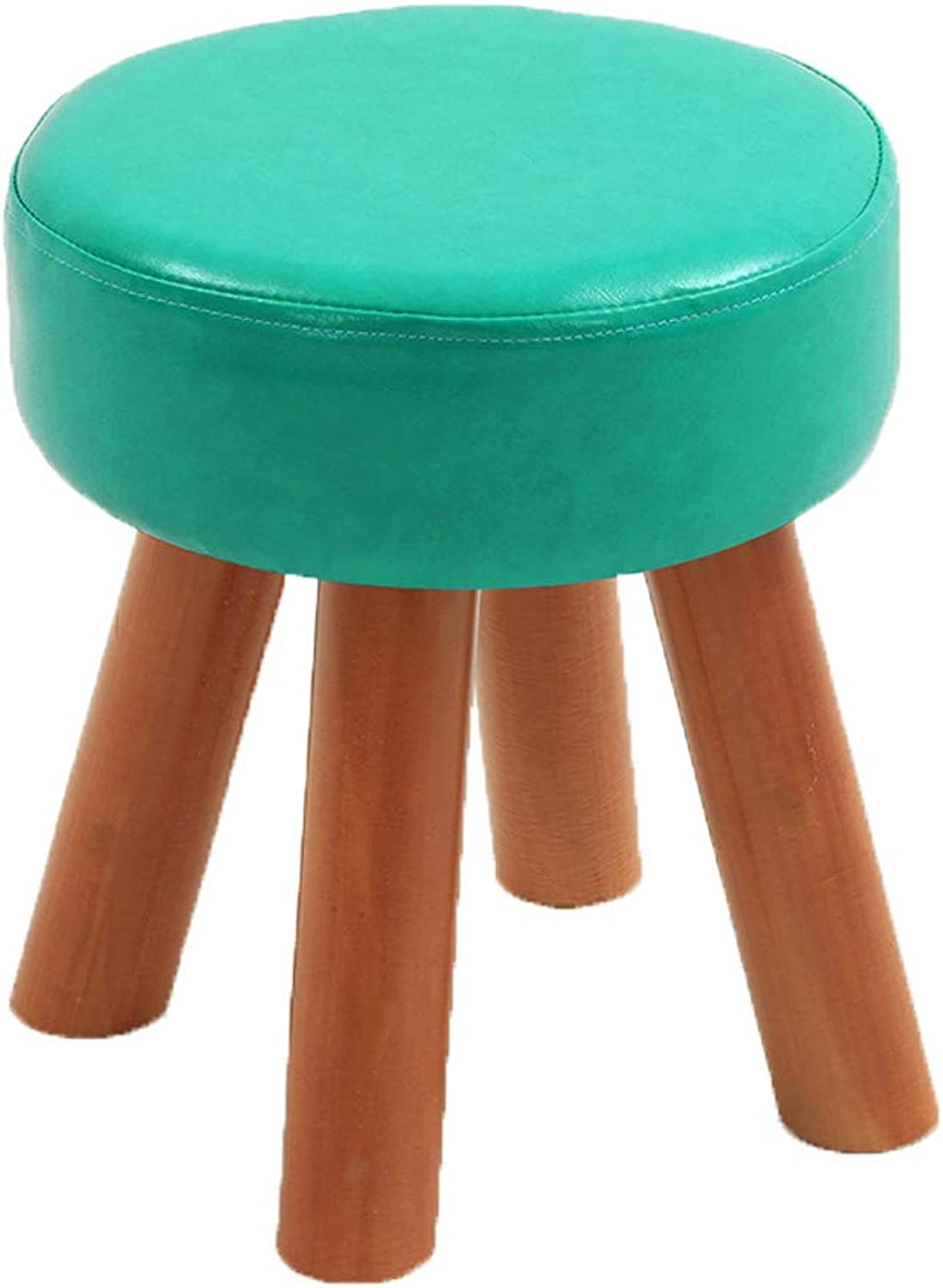 HLJ Comfortable Fashion Sofa Bench and Change shoes Stool Creative Leather Tea Table Stool Simple Solid Wood Home Stool (Size   28  32cm)