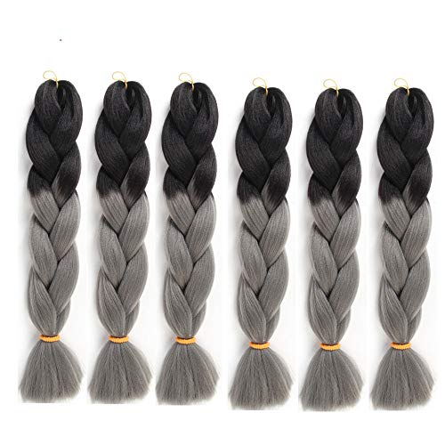 6 Packs Eunice Hair Jumbo Flechten Hair Extensions Colorful Kunsthaar Kanekalon Haar für Heimwerker Crochet Box Zöpfe Ombre Gray 2 Tone Color 100 g/pcs 61 cm (ombre gray)
