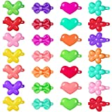 OIIKI 50 PCS Plastic Bow, Flower Hair Barrettes, Colorful 80s 90s Self Hinge Hair Clips/Pins for Girls Hair Accessories, Multi Design Cute Hair Barrettes-Mix Color