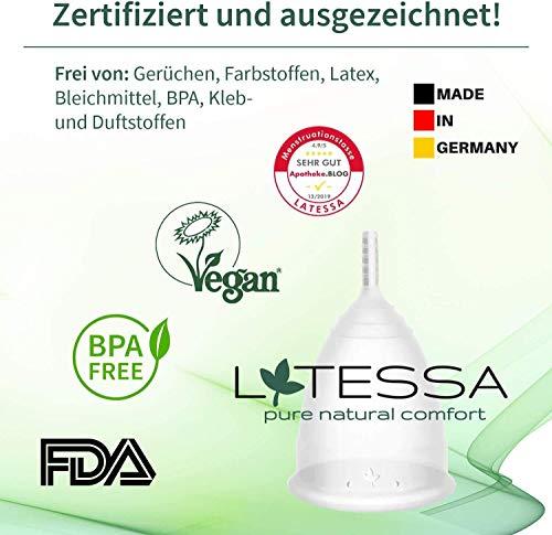 LATESSA® Menstruationstasse - SEHR GUT! getestet - Made in Germany - extra hochwertig - geruchlos - mit Aufbewahrung aus BIO-Baumwolle - Alternative zu Tampons & Binden - Größe 1 - klein - S