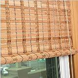 Yuanoo 85% Blackout Bamboo Rolleras, Estilo Rústico Rodillo de Madera para Arriba, Filtrado Ligero Bambú Slat Roller Shades, Pantalla de Privacidad Naturalas Romanas para Ventanas Y Puertas, Personal