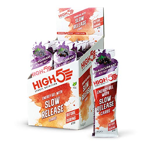HIGH5 Slow Release Energy Gel | Low Gi Sports Energy Gel | Enhanced with Ocean Minerals | Slow Release Energy Supply (Blackcurrant, 14 x 62 g)