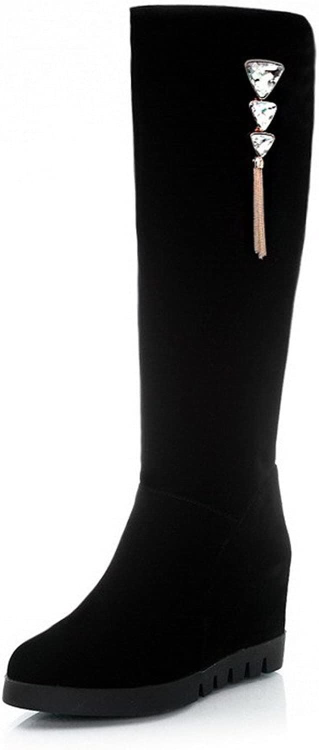 WeiPoot Women's Frosted Solid Closed Toe Boots with Metal Decoration