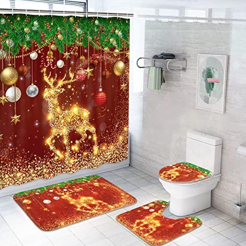 Likiyol Duschvorhang-Set mit Weihnachts-Rentier, rutschfeste Teppiche, WC-Deckelbezug, Badematte & 12 Haken, goldener Elch, Duschvorhang, Kiefernzweige, rot, Weihnachts-Badezimmer-Set