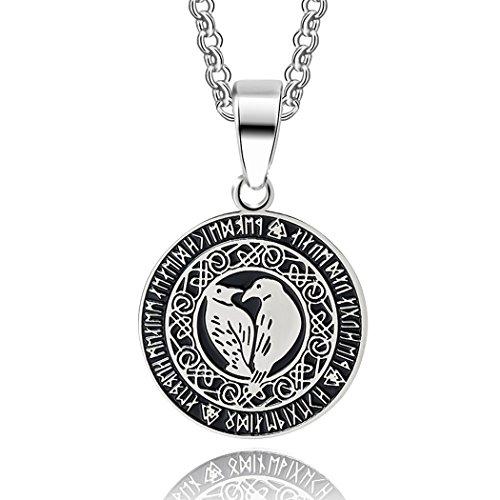 Hugin und Munin im Runenkreis Anhänger mit Kette in Silber | Edelstahl Kettenanhänger Lebensbaum Wikinger-Schmuck