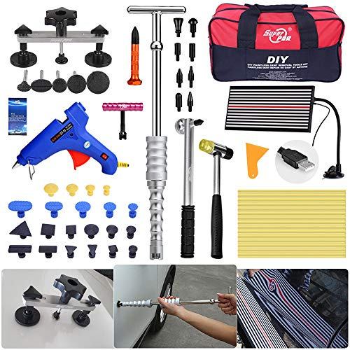 Fly5D 65Pcs Auto Body Paintless Dent Removal Repair Tools Kits Silde Hammer Dent Lifter Glue Puller Sets with Tool Bag