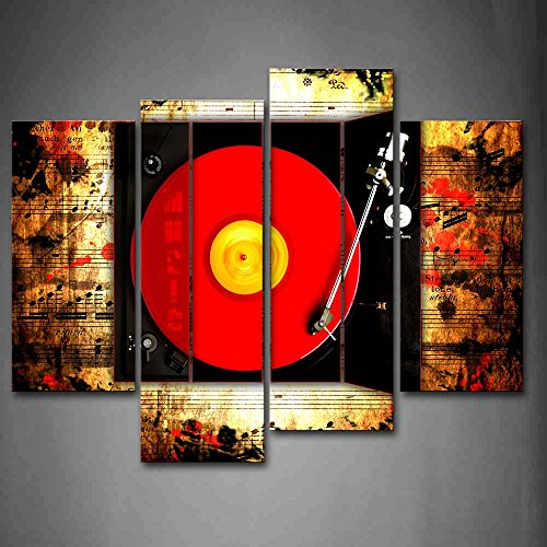 Record in Red and Buttons of Studio Wall Art Painting Pictures Print On Canvas Music The Picture for Home Modern Decoration