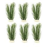 WLONLINE 6 Piezas Decoraciones de Seda para acuarios Decoraciones de Plantas pecera Plantas de Agua Verdes Artificiales Hechas de Telas de Seda de plástico (Verde)
