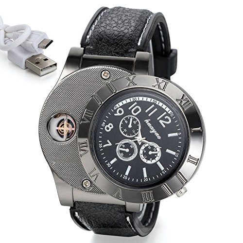 Sporty Quartz Watch Wristwatch with USB Electronic Rechargeable Windproof Flameless Cigarette Lighter