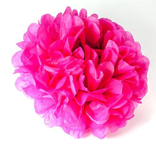 MissBirdler Pompoms Pink Set van 3 Ø 20 cm bloemen decoratie verjaardag bruiloft tuin feest feest babyshower pompom opvouwbaar zijdepapier decoratie pompon ponpon papieren bloem puschel slinger