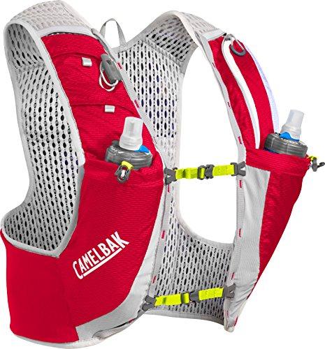 CamelBak Ultra Pro Vest 17 oz Quick Stow Flask Hydration Pack Grande, Carmesí Rojo/Lima Punch, 2.8 oz