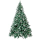 Winregh 4,5,6,7.5 Foot Artificial Christmas Tree Snow Flocked Hinged Pine Cone Decoration Unlit(7.5...