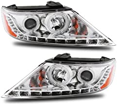 SPPC Projector Headlights Chrome Assembly Set (CCFL Halo) For Kia Sorento - (Pair) Driver Left and Passenger Right Side Replacement Headlamp