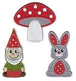 PatchWow 3er-Set Bügelbild/Patch zum Aufbügeln/Aufnähen, Motiv: Gartenzwerg, Fliegenpilz, Kaninchen