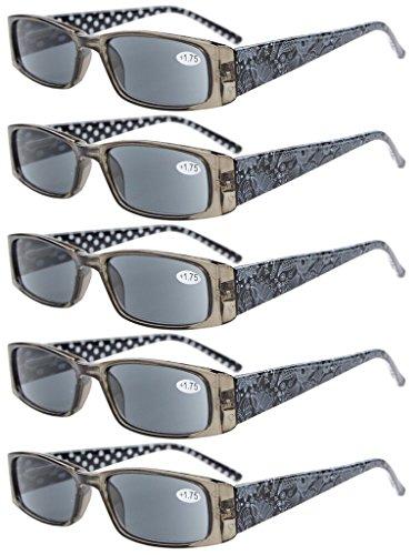 Eyekepper 5 Paia Occhiali da Lettura Aste Reticolo di Fiore per Donne Occhiali Presbite in Plastica Lenti Grigio per Sole Colore Nero Diottria +1.50