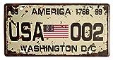 by Unbranded Bandera americana Washington D.C. 002 Retro Vintage Auto placa de matrícula en relieve, tamaño de etiqueta para decoración del hogar, pub bar