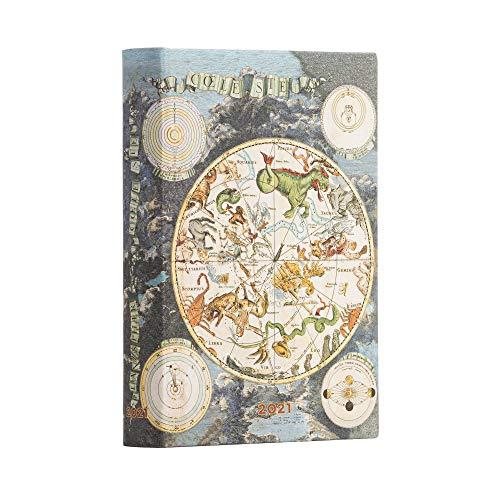 Paperblanks 12-Monatskalender 2021 Himmlische Karte | Tagesüberblick | Mini (98 × 140 mm)