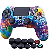 YoRHa Water Transfer Printing Camouflage Silicone Cover Skin Case for Sony PS4/slim/Pro Dualshock 4 Controller x 1(Spashing Paint) with Thumb Grips x 10