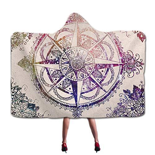 Mandala Brújula Lotus Impresión Ombre estilo con capucha manta psicodélico yoga meditación con capucha Wrap Böhmisch Hippie flor Sherpa Fleece manta suave portátil felpa cap manta 51 * 59in Pattern1