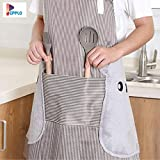 Queenly Waterproof and Oil-Proof Cooking Gown, Kitchen Fashion Home, Kitchen Apron Adult Female (Color : Brown/Khakhi)