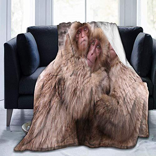 Manta de microforro polar ultrasuave, monos macaco japoneses, decoración del hogar, manta cálida para sofá cama, 152 x 50 pulgadas