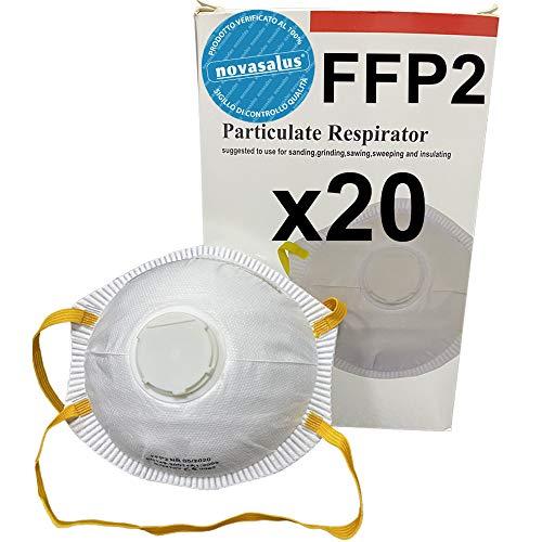 Novasalus Mascherine Respiratori Protezione FFP2 a coppetta con Valvola, certificate CE 0082 - confezione da 20 pezzi