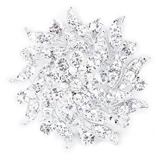 SODIAL(R) Kristall Strass Blumen Brauthochzeits Blumenstrauss Silber Brosche