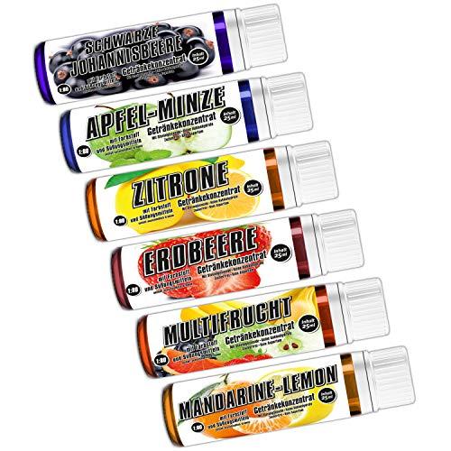 C.P. Sports Getränkekonzentrat 25ml Probe – 6 Geschmäcker Test Mix E – zuckerfrei, kalorienfrei, aspartamfrei – Verhältnis 1:80 – L-Carnitin, Vitamine – Sport Konzentrat Sirup Getränkesirup