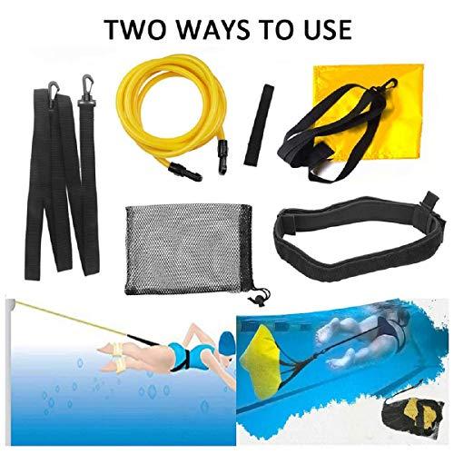FOOING Schwimmgürtel mit Swim Parachute für Stationäres Schwimmtrainer Krafttraining Widerstandsgurt für Erwachsene und Kinder Schwimmgurt (Schwimmgürtel 6pcs)