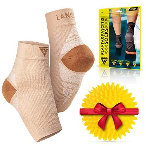 Langov Nano Socks, Neuropathy Socks (Pair) for Women & Men, Ankle Support Brace, Toeless Compression Plantar Fasciitis Socks & Foot Sleeve for Heel, Achilles tendonitis & Arch Pain Relief & Treatment
