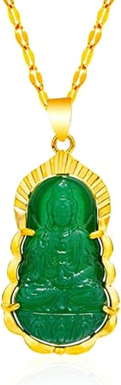 Buddha Quan Yin Pendant Guan Yin Beaded Chain Necklace Jade Stone Beads Kwan-yin Chinese Feng Shui Amulet for Wealth Safe