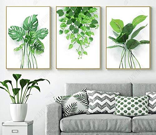 Verde Hoja Tropical Pintura De La Lona Hojas Frescas
