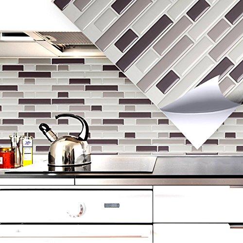 Grandora Set di 4 adesivi per piastrelle 28,6 x 25,3 cm varie tonalità mattoni grigi I 3D autoadesive cucina bagno murale decorazione W5203