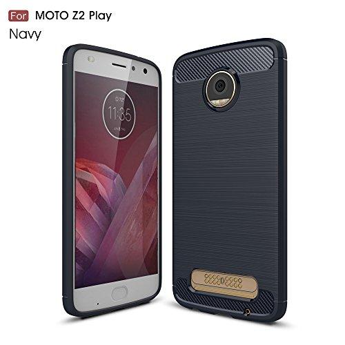 Capa para Motorola Moto Z2 Play, capa traseira de fibra de carbono ultrafina, bumper de TPU