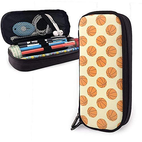 Federmäppchen Papier Basketball Gelb PU Ledertasche Aufbewahrungstaschen Tragbare Bleistiftbeutel Reißverschluss Geldbörsen