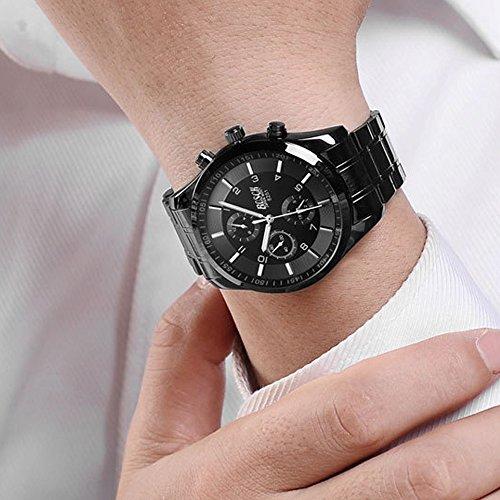 『ZDTech 腕時計 クロノグラフ デイト クォーツムーブメント 海外モデル メンズ ウォッチ (ブラック)』の3枚目の画像