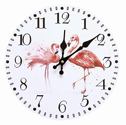 mixed24 Flamingo Wanduhr Analog Küchenuhr Wohnzimmer Zimmer Uhr Sommer Mädchen Pink Rosa