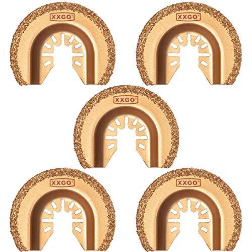XXGO 5 Pcs Semicircle Carbide Oscillating Multi Tool Blades Universal Compatible with Bosch Chicago Craftsman Dewalt Dremel Fein Harbor Freight Makita Milwaukee Porter Cable Ridgid Ryobi Rockwell More