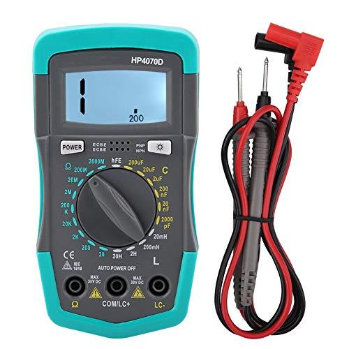 Multímetro Digital, Probador de Medidor de Capacitancia de Resistencia, con un Medidor de Pantalla LCD, Retroiluminación Blanca Grande, para Medida Electrica