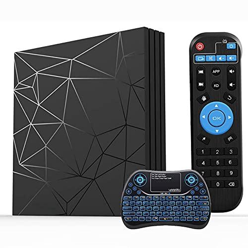 Android TV Box, Android 9.0 TV Box 2 GB RAM / 16 GB ROM H6 Quad-Core Supporto 2.4 GHz WiFi 6 K HDMI DLNA 3D Smart TV Box con Mini Tastiera